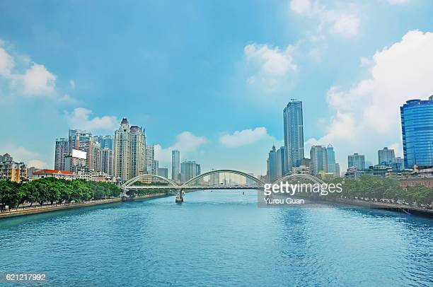 Guangzhou skyline with blue sky in sunny day,China.