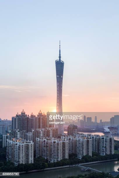 Guangzhou Skyscrapers at sunset