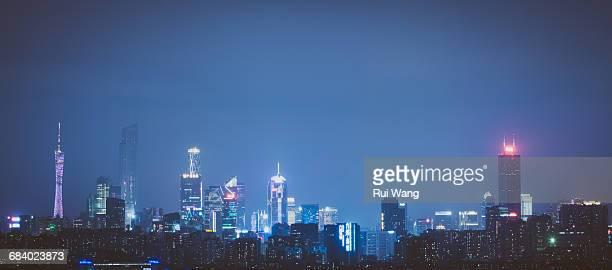 Guangzhou urban panorama view at night