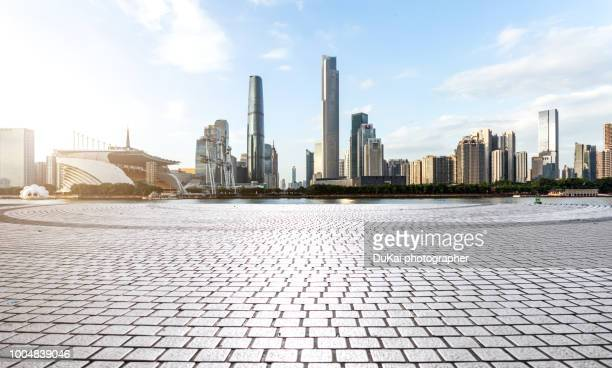 guangzhou zhujiang new town - asphalt paving stock photos and pictures