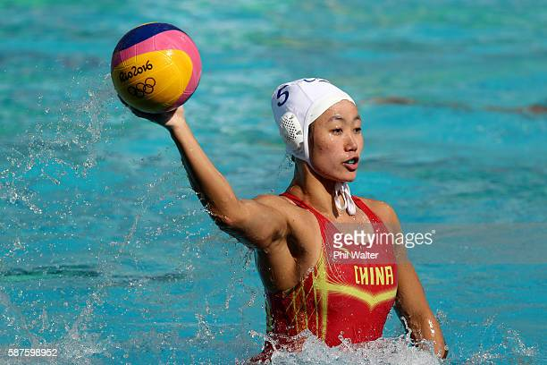 Guannan Niu of China passes during the Preliminary Round Group B Womens Waterpolo match between China and Hungary on Day 4 of the Rio 2016 Olympic...