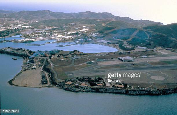 Guantanamo Bay, Cuba: An aerial view of the United States Naval Air Base at Guantanamo Bay.