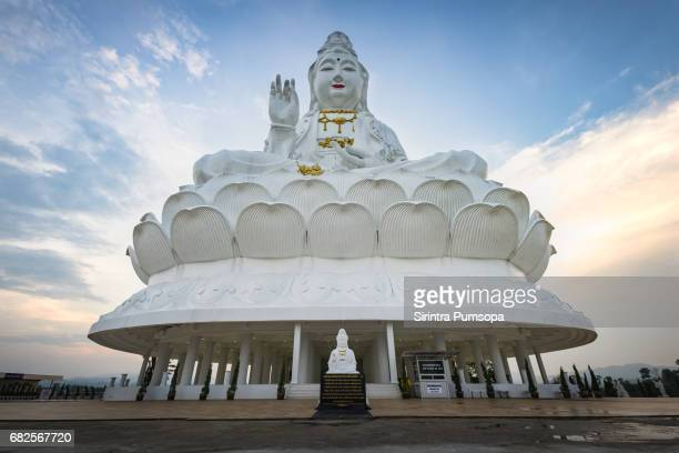 guanyin statue in wat huay pla kang of chiang rai province of thailand - guanyin bodhisattva stock pictures, royalty-free photos & images