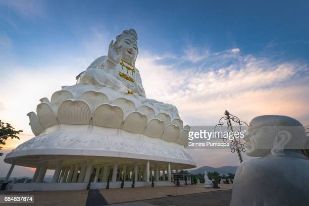 guanyin statue in wat huay pla kang of chiang rai province of thailand - bodhisattva stock pictures, royalty-free photos & images