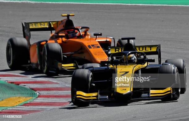Guanyu Zhou and Jack Aitken during the GP Spain Formula 2, on 12th May 2019, Barcelona, Spain. --