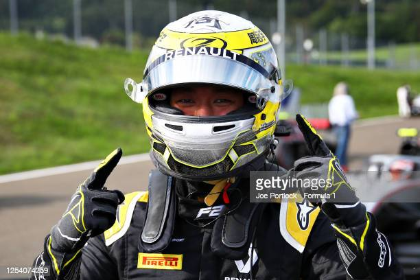 Guanyu Zhou of China and UNI-Virtuosi Racing celebrates getting pole position during qualifying for the Formula 2 Championship at Red Bull Ring on...