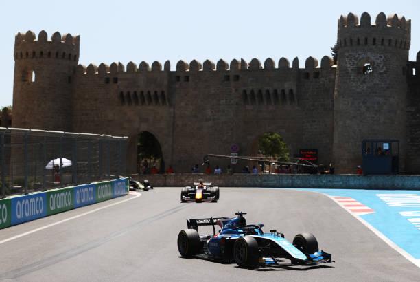 Guanyu Zhou of China and UNI-Virtuosi Racing drives during sprint race 1 of Round 3:Baku of the Formula 2 Championship at Baku City Circuit on June...