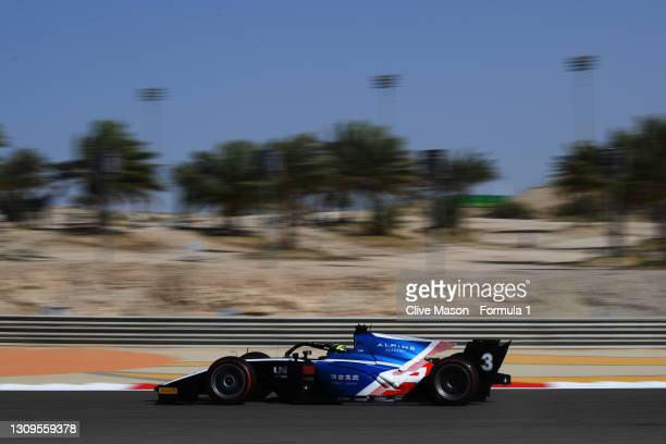 Guanyu Zhou of China and UNI-Virtuosi Racing drives during the Feature Race of Round 1:Sakhir of the Formula 2 Championship at Bahrain International...