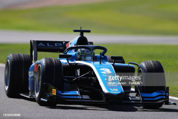 Guanyu Zhou of China and UNI-Virtuosi Racing drives during the Round 4:Silverstone feature race of the Formula 2 Championship at Silverstone on July...