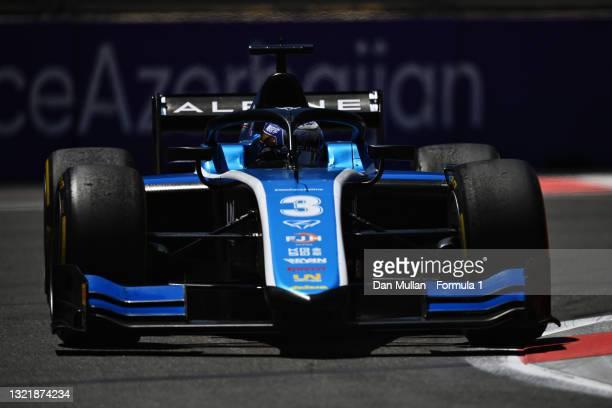 Guanyu Zhou of China and UNI-Virtuosi Racing drives on track during sprint race 1 of Round 3:Baku of the Formula 2 Championship at Baku City Circuit...