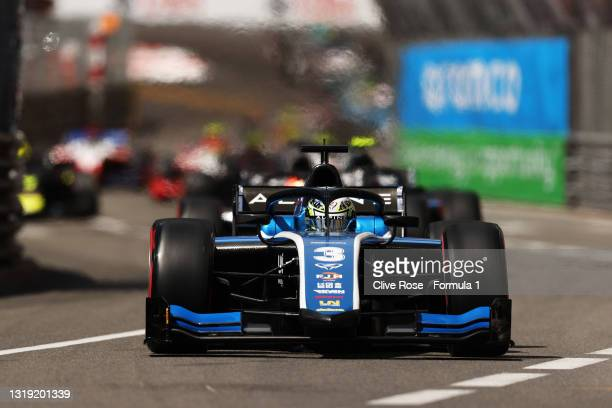 Guanyu Zhou of China and UNI-Virtuosi Racing leads the field during Sprint Race 1 of Round 2:Monte Carlo of the Formula 2 Championship at Circuit de...