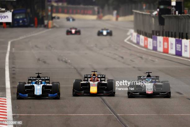 Guanyu Zhou of China and UNI-Virtuosi Racing , Liam Lawson of New Zealand and Hitech Grand Prix and David Beckmann of Germany and Charouz Racing...