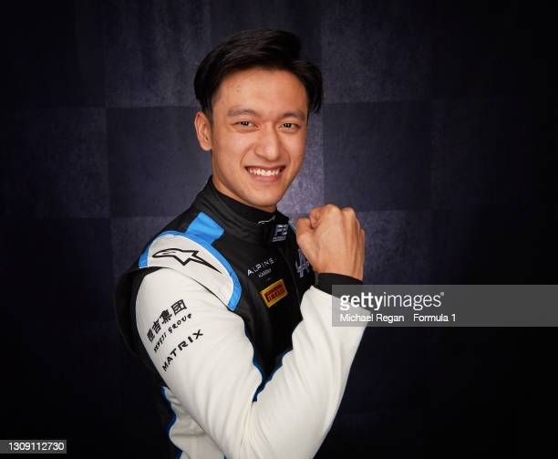 Guanyu Zhou of China and UNI-Virtuosi Racing poses for a portrait at Bahrain International Circuit on March 07, 2021 in Bahrain, Bahrain.