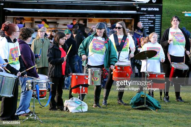 Guarana drummers entertain the crowds at Murrayfield