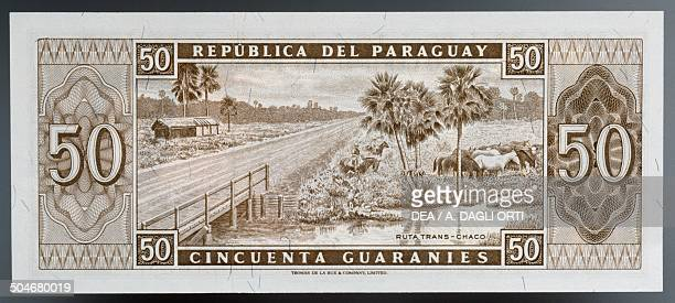 50 guaranies banknote 19601969 reverse Transchaco road Paraguay 20th century