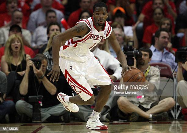 Guard Aaron Brooks of the Houston Rockets during play against the Portland Trail Blazers in Game Three of the Western Conference Quarterfinals during...