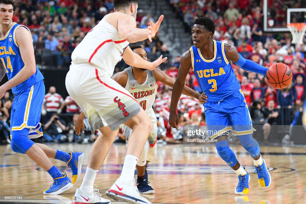UCLA guard Aaron Holiday (3) looks to drive to the basket during the semifinal game of the mens Pac-12 Tournament between the UCLA Bruins and the Arizona Wildcats on March 9, 2018, at the T-Mobile Arena in Las Vegas, NV.