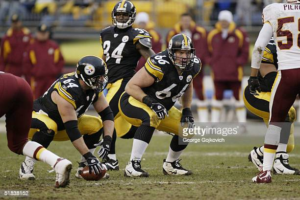 Guard Alan Faneca and center Jeff Hartings of the Pittsburgh Steelers during a game against the Washington Redskins at Heinz Field on November 28...