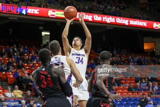 Guard Alex Hobbs of the Boise State Broncos goes up for a two point shot during first half action against the UNLV Rebels on February 06 2019 at Taco...