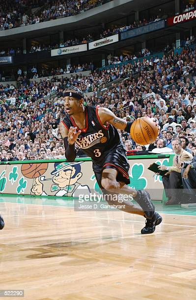 Guard Allen Iverson of the Philadelphia 76ers dribbles the ball during game 5 of the Eastern Conference Quarterfinals against the Boston Celtics...