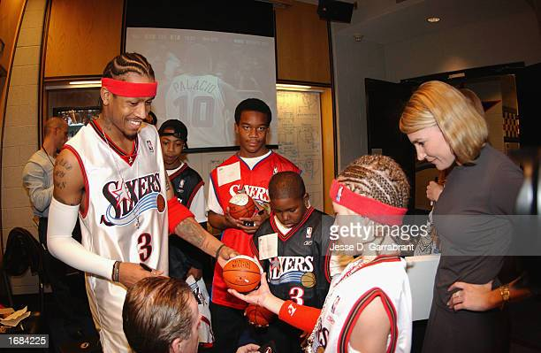 Guard Allen Iverson of the Philadelphia 76ers signs autographs and greets children who met Allen and his teammates as part of the NBA Make a Wish...