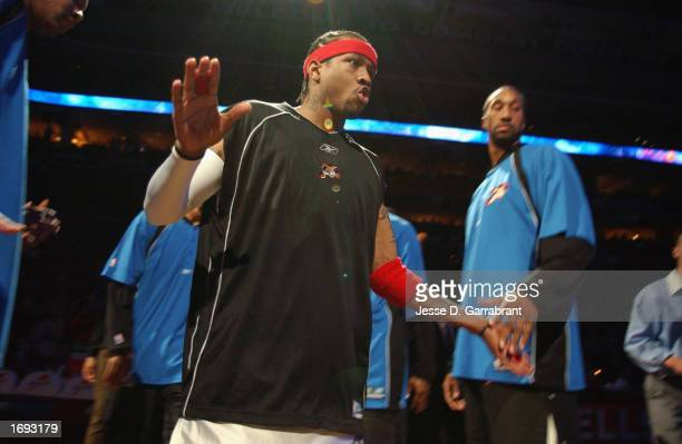 Guard Allen Iverson of the Philadelphia 76ers takes the court as he is introduced to the crowd prior to the game against the Boston Celtics at the...