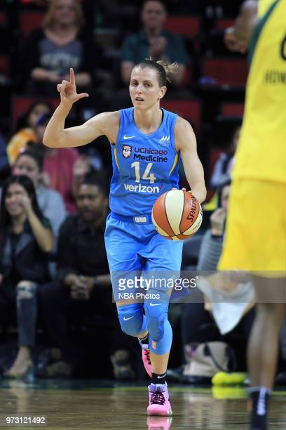 Guard Allie Quigley of the Chicago Sky signals to her team during the game against the Seattle Storm on June 12 2018 at KeyArena in Seattle...