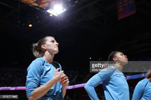 Guard Allie Quigley of the Chicago Sky stands for the National Anthem before the game against the Connecticut Sun on August 12 2018 at the Mohegan...