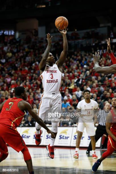 UNLV guard Amauri Hardy takes a shot during the game between the Arizona Wildcats and the University of Nevada Las Vegas Rebels on December 2 2017 at...