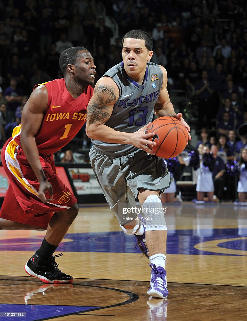 Guard Angel Rodriguez #13 of the Kansas State Wildcats drives past guard Bubu Palo #1 of the Iowa State Cyclones during the second half on February 9, 2013 at Bramlage Coliseum in Manhattan, Kansas. Kansas State defeated Iowa State 79-70.