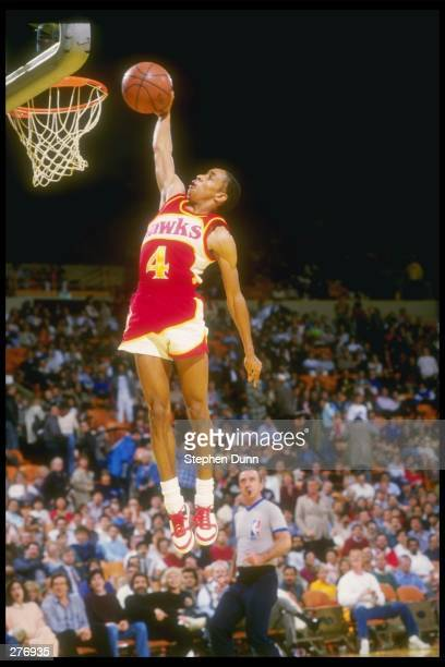 Guard Anthony Webb of the Atlanta Hawks leaps to victory during a game against the Los Angeles Lakers at The Forum in Inglewood California Mandatory...