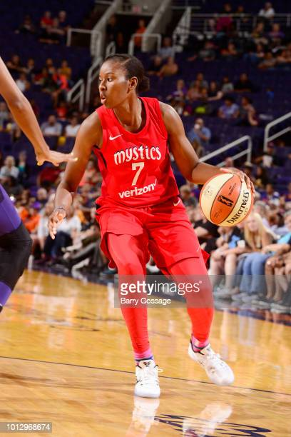 guard Ariel Atkins of the Washington Mystics handles the ball during the game against the Phoenix Mercury on August 7 2018 at Talking Stick Resort...