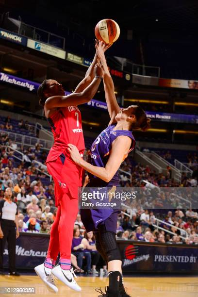 guard Ariel Atkins of the Washington Mystics shoots the ball during the game against the Phoenix Mercury on August 7 2018 at Talking Stick Resort...