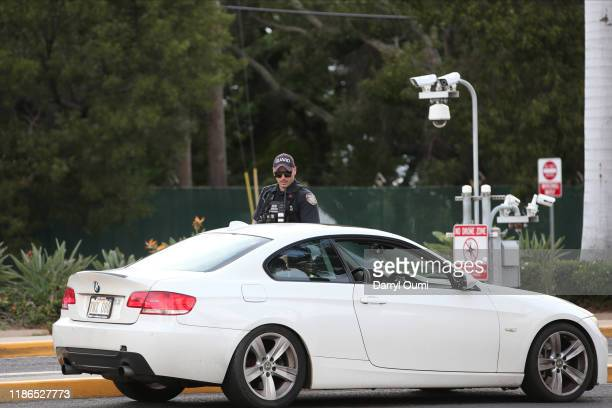 A guard armed wit Han assault rifle checks vehicles entering the Nimitz Gate of Joint Base Pearl HarborHickam on December 4 2019 in Honolulu United...