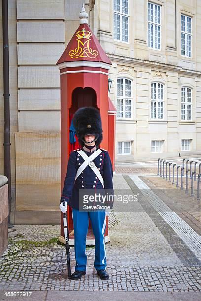 Guard at Amalienborg Palace Copenhagen Denmark