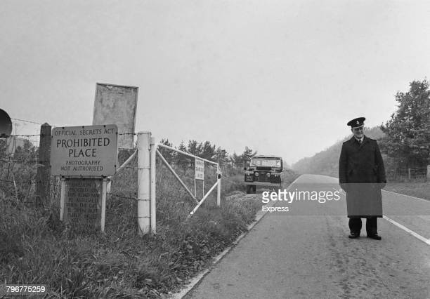 A guard at one of the entrances to the Ministry of Defence's Defence Science and Technology Laboratory at Porton Down Wiltshire 23rd October 1968 One...