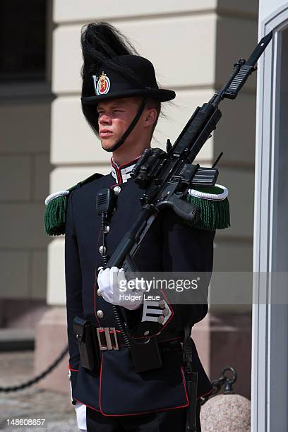 guard at oslo royal palace. - royal palace oslo stock pictures, royalty-free photos & images