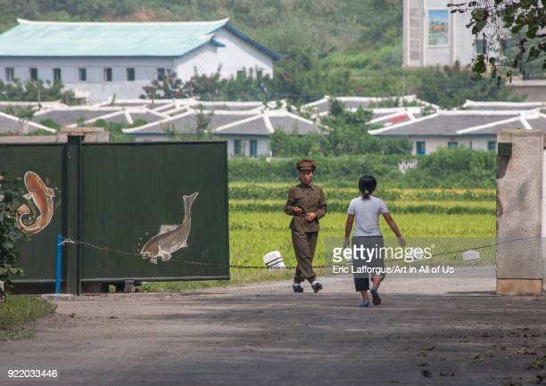 Guard at the entrance of a fish farm North Hwanghae Province Sariwon North Korea on September 10 2008 in Sariwon North Korea