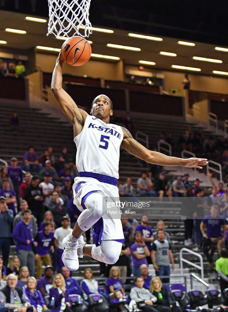 Guard Barry Brown #5 of the Kansas State Wildcats drives to the basket for a layup against the Missouri-Kansas City Kangaroos during the second half on November 14, 2017 at Bramlage Coliseum in Manhattan, Kansas.