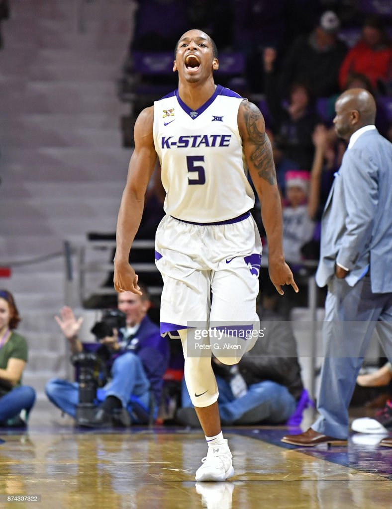Guard Barry Brown #5 of the Kansas State Wildcats reacts after hitting a three-point shot against the Missouri-Kansas City Kangaroos during the first half on November 14, 2017 at Bramlage Coliseum in Manhattan, Kansas.