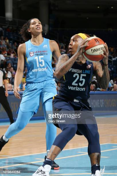 guard Cappie Pondexter of the Indiana Fever handles the ball during the game against forward Gabby Williams of the Chicago Sky on August 19 2018 at...