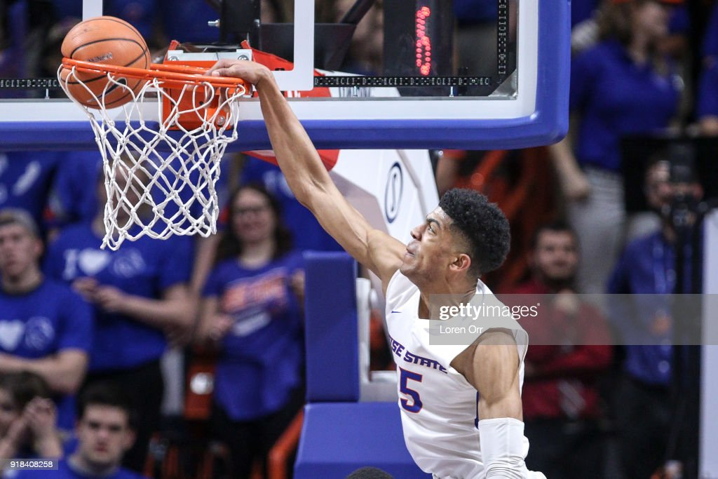 Guard Chandler Hutchison #15 of the Boise State Broncos dunks the ball during first-half action against the Nevada Wolf Pack on February 14, 2018 at Taco Bell Arena in Boise, Idaho.