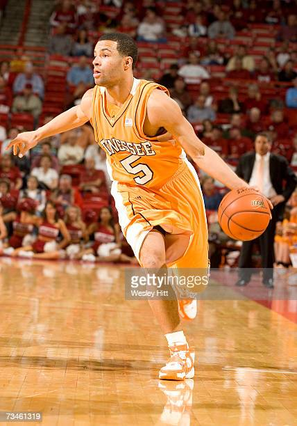Guard Chris Lofton of the Tennessee Volunteers looks to drive to the basket against the Arkansas Razorbacks at Bud Walton Arena on February 24, 2007...