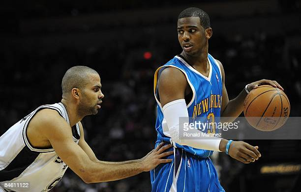 Guard Chris Paul of the New Orleans Hornets during play against Tony Parker of the San Antonio Spurs on January 31, 2009 at AT&T Center in San...