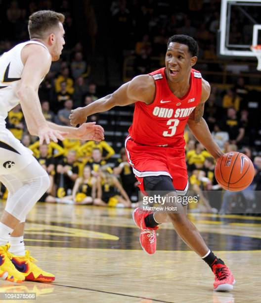 Guard CJ Jackson of the Ohio State Buckeyes drives down the court in the first half against guard Jordan Bohannon of the Iowa Hawkeyes on January 12...