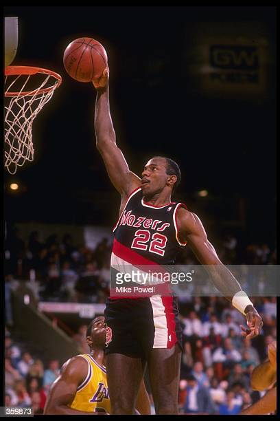 Guard Clyde Drexler of the Portland Trail Blazers goes up for two during a game