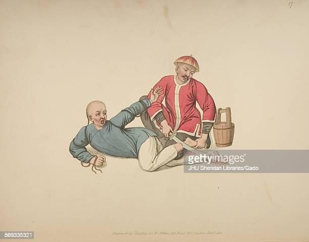 A guard cutting the hamstring of a prisoner using a katana sword 1806