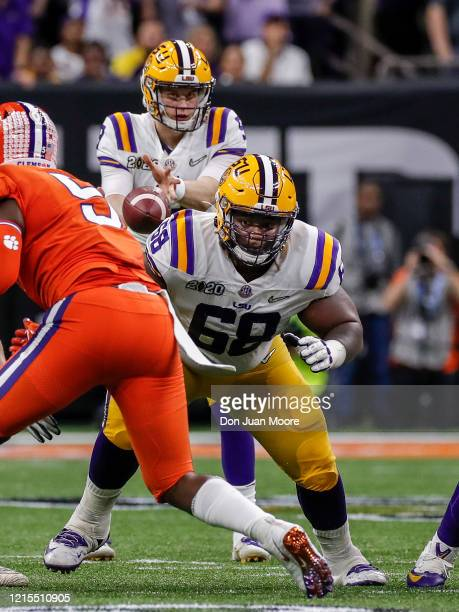 Guard Damien Lewis of the LSU Tigers during the College Football Playoff National Championship game against the Clemson Tigers at the Mercedes-Benz...