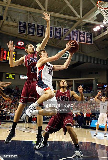 Guard David Stockton of the Gonzaga Bulldogs goes up for a goal attempt during the second half of the game against the Marymount Lions at McCarthey...