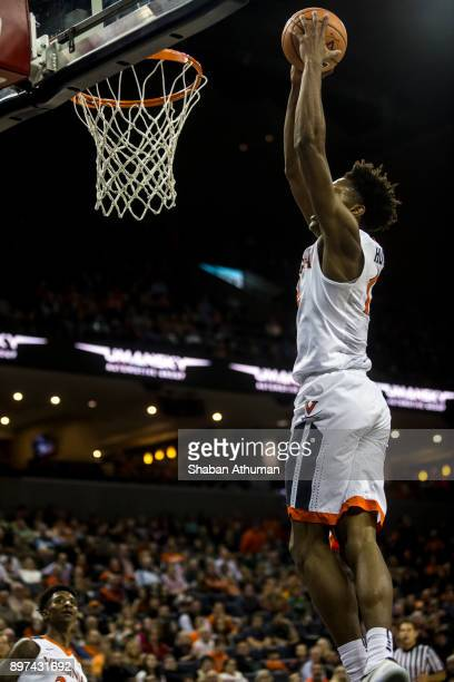 Guard De'Andre Hunter of the University of Virginia Cavalier goes up for two against Hampton University at John Paul Jones Arena on December 22 2017...